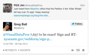 Greg Ball Tweet to @visualdatapros